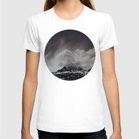 backpack T-shirts featuring Mountainscape Black and White by Leah Flores