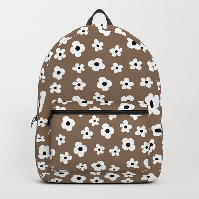 Coffee Brown White Flower Pattern Backpack