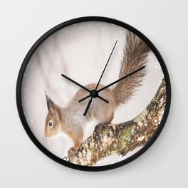 Little squirrel jumping on the branch #decor #society6 #buyart Wall Clock