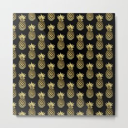 Elegant gold & black pineapple pattern Metal Print