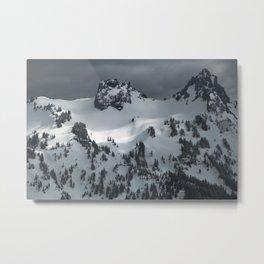 Snowy winter peak of mountains Metal Print