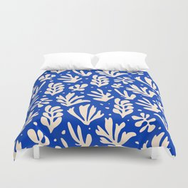 matisse pattern with leaves in blu Duvet Cover
