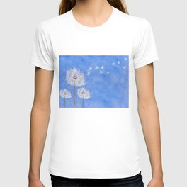 flying dandelion watercolor painting T-shirt