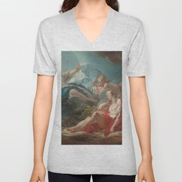 Diana and Endymion Oil Painting by Jean-Honoré Fragonard Unisex V-Neck