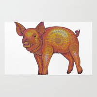 piglet Area & Throw Rugs featuring Patterned Piglet by Emilie Darlington