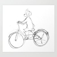 cycling Art Prints featuring Cycling by Maiko Horita