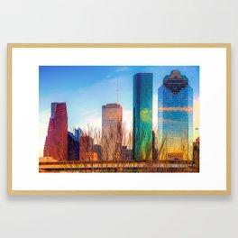 Downtown Houston Texas Skyline at Sunset Framed Art Print