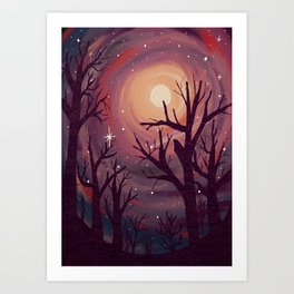 Pinky Night Under The Stars Art Print