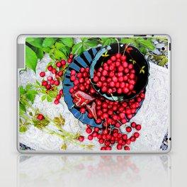 Cherries on black plates Laptop & iPad Skin