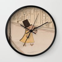 moustache Wall Clocks featuring Moustache by Loezelot