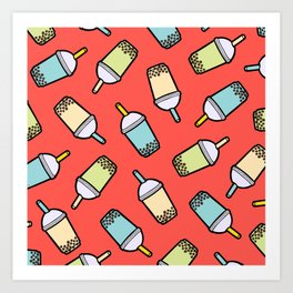 Bubble Tea Pattern in Red Art Print
