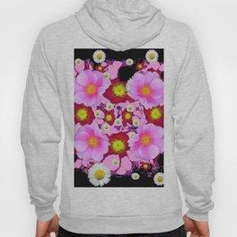 Black Design & Pink Roses Shasta Daisies Art Abstract Hoody
