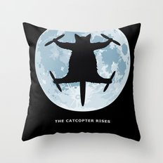 THE CATCOPTER - Humor | Meme | Cat | Internet | Funny | Animal | Bizzarre | Moon  Throw Pillow