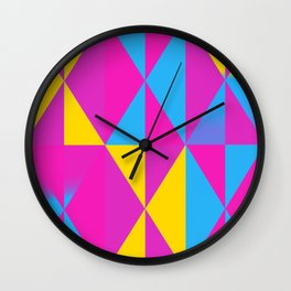 Pansexual Pride Triangle Gradients Pattern Wall Clock