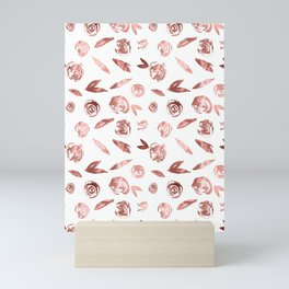 Rose Gold Roses Rosette Pattern Pink on White Mini Art Print