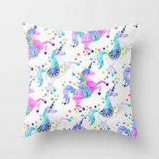 Pastel Unicorns Throw Pillow
