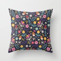 yetiland Throw Pillows featuring Ditsy Flowers by Poppy & Red