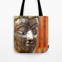 thailand Tote Bags featuring Thailand Buddha  by Maria Faith Garcia