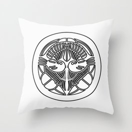 Uesugi Clan · Black Mon · Outlined Throw Pillow
