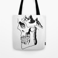 three of the possessed Tote Bags featuring Possessed by the Mountains by Le Bureau Noir Studio