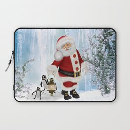 Santa Claus with funny penguin Laptop Sleeve