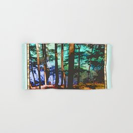 MOUNTAIN LAKE THROUGH HEMLOCK TREES Hand & Bath Towel