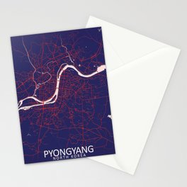 Pyongyang, North Korea, Blue, White, City, Map Stationery Cards