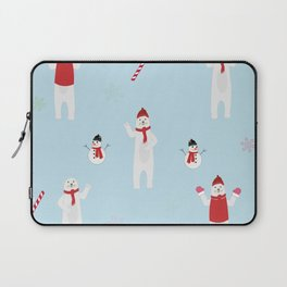 Polar Bear, Snowman, Snowflakes, Candies Winter Theme Funny Pattern Laptop Sleeve