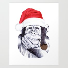 Christmas Chimp Art Print