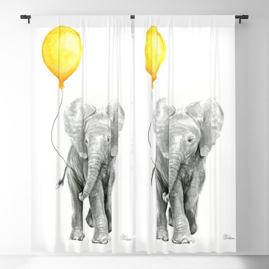 Elephant Watercolor Yellow Balloon Whimsical Baby Animals by olechka