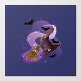 Witch hat and broom Canvas Print