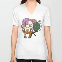dragonball V-neck T-shirts featuring Bulma and the dragonball radar by Samtronika