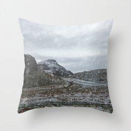 A Snowy Arthur's Seat Throw Pillow