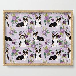 Tricolored Corgi Floral print - feminine blue purpl florals dogs, dog lover, dog mom, tri corgi cute Serving Tray