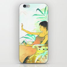 Woman painting a manicure iPhone & iPod Skin