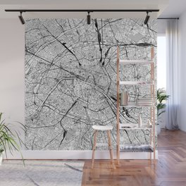 Paris White Map Wall Mural