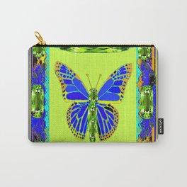 BLUE & GREEN  BUTTERFLY PERIDOT GEMMED GEOMETRIC Carry-All Pouch