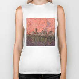 houston city skyline Biker Tank