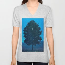Rene Magritte - Le Seize Septembre - 1956 Moon Through Tree Surrealism Unisex V-Neck
