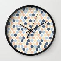 honeycomb Wall Clocks featuring Honeycomb by 603 Creative Studio