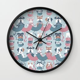 Knitting dog feelings I Wall Clock
