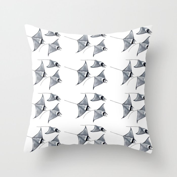 Manta ray devil fish Throw Pillow