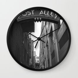 Post Alley in Seattle Washington - Black and White Wall Clock
