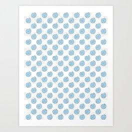 Brandeis Blue on White Spirals Art Print