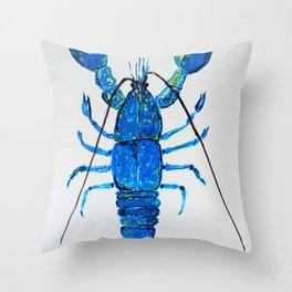 Blue Lobster Wall Art, Lobster Bathroom Decor, Lobster Crustacean Marine Biology Throw Pillow