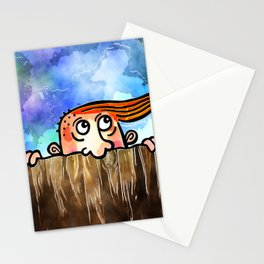 Watercolor Peering Man Stationery Cards