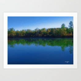 Bright Fall Day on the Pond Art Print