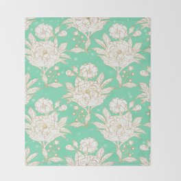 stylish golden and mint floral strokes design Throw Blanket