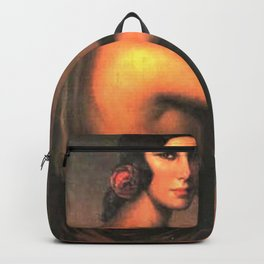 A Manola with Her Guitar female guitar player portrait painting by Julio Romero De Torres Backpack