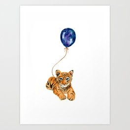 flying baby tiger watercolor painting  Art Print